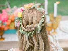 ditch the veil for flowers and braids #wedding #hair