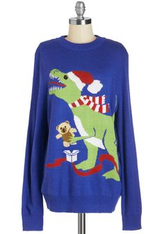 T-Rex the Halls Men's Sweater. Your favorite fellow will feel especially festive in this prehistoric sweater! #blue #modcloth