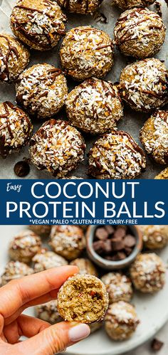 These Coconut Protein Balls are easy to make in just 10 minutes with healthy dates, crunchy pecans, almond butter and shredded coconut. If you are a fan of the GS Samoa Cookies then these delicious and healthy energy bites are for you! Packed with flavor, protein and nutrition for an easy grab-and-go breakfast or pre-workout snack! Freezer-friendlym gluten-free, grain-free, vegan, paleo and freezer-friendly! #proteinballs #vegan #glutenfree Bhg Recipes, Best Dessert Recipes, Fun Desserts, Sweet Recipes, Delicious Desserts, Snack Recipes, Yummy Food, Delicious Dishes, Yummy Recipes