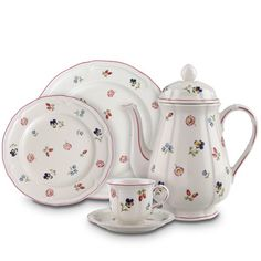 """Villeroy & Boch's Petite Fleur"""". Can be used on any occasion from breakfast to setting a beautiful Thanksgiving or Christmas dinner table!! Mix and match with any coloured placemat or napkin. Very versatile!"""