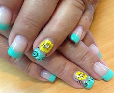 mint w/ neon yellow flowers - Nail Art Gallery