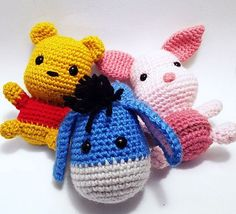 Make your own Winnie the Pooh! Sabrina Somers made crochet patterns for Pooh Bear and his friends. Pooh Bear Rabbit Piglet Tigger and Eeyore These patterns are available in English, Dutch and Spanish.