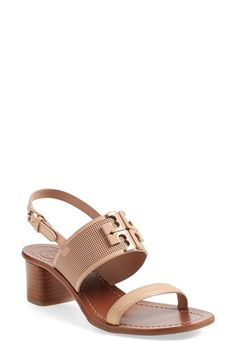 TORY BURCH 'Lowell' Linen & Leather Sandal (Women). #toryburch #shoes #sandals