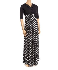 Love this Black & White Dot Ruffle Surplice Maternity Maxi Dress on Cute Maternity Dresses, Maternity Maxi, Black Dots, Black And White, Flattering Dresses, Dress Cuts, Half Sleeves, That Look, Dresses For Work