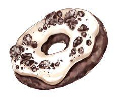 Dessert Illustration, Illustration Art, Desserts Drawing, Food Sketch, Food Cartoon, Good Food, Yummy Food, Chocolate Donuts, Good Enough To Eat