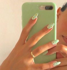 Summer Acrylic Nails, Best Acrylic Nails, Pastel Nails, Acrylic Nail Designs, Summer Nails, Acrylic Nails Green, Winter Nails, Mint Green Nails, Green Nail Designs
