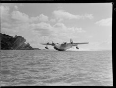 TEAL Short Tasman flying boat ZK-AMD Clipper 'Australia' taking off, Auckland Date: 2 Sept 1946 Photograph taken by Whites Aviation. Aviation Image, Civil Aviation, Short Sunderland, Air New Zealand, Flying Boat, Commercial Aircraft, Air Travel, Amphibians, Auckland