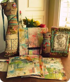 Love the mix of colors and patterns {Mindy Lacefield} Mixed Media Collage, Collage Art, Collages, Art Journal Inspiration, Creative Inspiration, Journal Ideas, Art Journal Pages, Art Journals, Scrappy Quilts