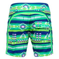 GREEN LONG SWIM SHORTS WITH NAVAJO PRINT AND RAINBOW BANDS Green polyester low rise long Boardshorts with Navajo print and featuring the three classic rainbow bands on the back. Fixed waistband with adjustable drawstring and Velcro closure. Internal net. Back Velcro pocket. Sundek logo on the back. COMPOSITION: 100% NYLON.