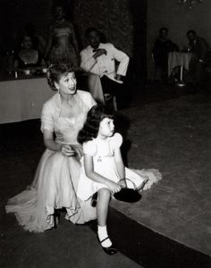 Lucille Ball on the set of I Love Lucy with daughter Lucie Arnaz