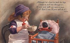 An illustration of a girl playing nurse to her doll, 1917. Pictures of Nursing: The Zwerdling Postcard Collection. National Library of Medicine