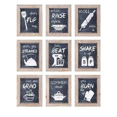 Enhance your kitchen with this fun set of nine chalkboard style framed prints. - Material: 40% Pine Wood, 50% Mdf, 10% Paper - Dimensions: 10.5-Inch H x 8.5-Inch W x 1-Inch IMAX - A0997340 | IMAX A0997340 Kitchen Inspirations Wall Decor, Set of 9, Transitional | Bellacor Wall Decor Set, Wall Art Sets, Framed Wall Art, Framed Prints, Wall Décor, Frames Decor, Wood Frames, Decor Room, Wall Collage