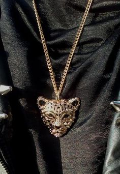Statement gold jewelled leopard necklace