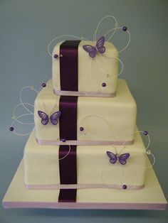 Butterfly square wedding cake