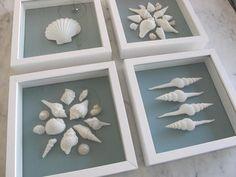 同じ色の生地を挟み込んで、貝を並べて作った、貝柄のフレーム。白とブルーのコントラストがとっても素敵!