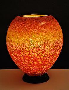 """Suneset Orange Lamp""  Art Glass Table Lamp  Curt Brock, Artful Home"