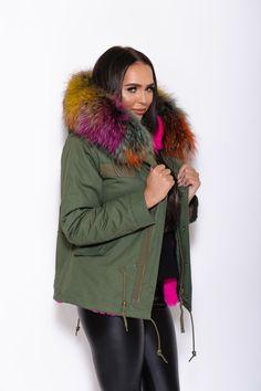 Rainbow Fur Collar Parka Fur Collars, Parka, Furs, Hoods, Winter Jackets, Fall Fashion, Fashion Fall, Cowls, Cooker Hoods