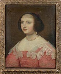 Ecole FRANCAISE vers 1660   Portrait de femme à la robe rouge et au col de dentelles Toile (restaurations) 55 x 46 cm