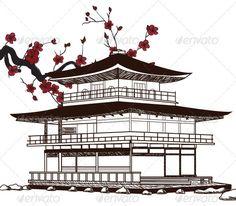 Japanese Pagoda  #GraphicRiver         Japanese Pagoda Sketch – Hand Drawn Style