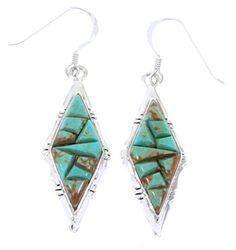 Turquoise Hook Earrings Sterling Silver Jewelry JW66468 http://www.silvertribe.com