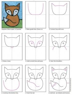 Cute Fox Drawing · Art Projects for Kids. Great for young students, like kinder through grade. PDF tutorial to […] Drawing Lessons For Kids, Art Drawings For Kids, Easy Drawings, Art For Kids, Drawing Ideas Kids, Learning To Draw For Kids, Cute Art Projects, Projects For Kids, Children Art Projects