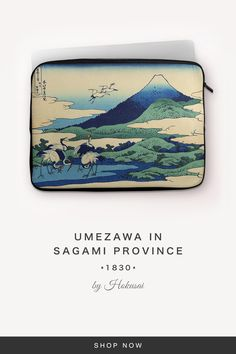 """""""Umezawa in Sagami Province"""" by Hokusai 7 And 7, Back To Black, Laptop Sleeves, Snug, Fabric, Accessories, Tejido, Notebook Covers, Fabrics"""