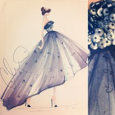 Sketch by Christian Siriano: with actual sequins