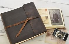 Gifts for Him |  #giftsforhim  |  Leather Photo Album  rustic leather album w/wrap by clairemagnolia, $78.00