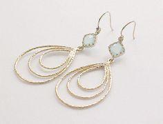 15 OFF SALE  Gold Teardrop Earrings  Seafoam Blue by FiveThirty, $21.00