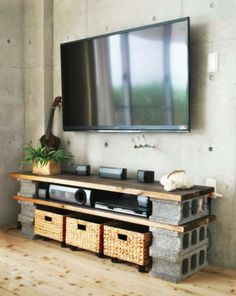 """Easy peasy. Cut a door down the middle for long shelves or each """"board"""" for a bookshelf design!  Use clear blocks instead of cinder blocks for bookshelf in C's room                                                                                                                                                     More"""