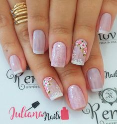 Ideas For Nails Design Valentines French Nailart Gel French Manicure, Manicure And Pedicure, Diy Nails, Cute Nails, Nailart, Best Nail Art Designs, Flower Nails, Gorgeous Nails, Cool Nail Art