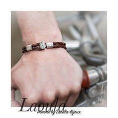 Bracelet en cuir marron et argent, bijoux ethnique