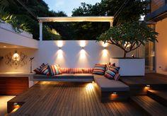 Lighting, white/colour contrast, pot & frangipani