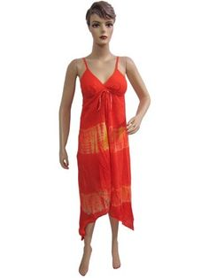 Women Cocktail Dress Peasent Beach Cverup Orange Yellow Tie Dye Printed Knee Length Dresses Small Size Mogul Interior, http://www.amazon.com/dp/B009QUZT38/ref=cm_sw_r_pi_dp_kb3Fqb01MCGC2