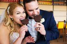 Mickey Premium Bars shared by the bride & groom at Disney Fairy Tale Wedding reception