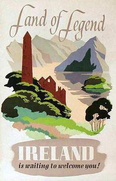 The Travel Tester vintage travel poster collection. It's time to get nostalgic with this week's retro showcase: Vintage Travel Posters Ireland. Posters Uk, Railway Posters, Irish Tourism, Illustrations Vintage, Tourism Poster, Retro Poster, Irish Art, Vintage Travel Posters, Ireland Travel