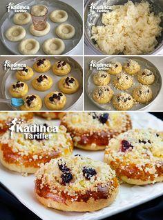 Pudingli Poğaça (Pudding Taler) Tarifi Greek Cooking, Cooking Time, Tart, Muffin, Baking, Breakfast, Food, Breads, Turkish Recipes