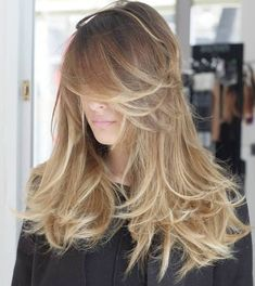 50 Cute and Effortless Long Layered Haircuts with Bangs - Layered Messy Hairstyle For Long Hair - Haircuts For Long Hair With Layers, Layered Haircuts With Bangs, Long Hair With Bangs, Long Curly Hair, Long Hair Cuts, Curly Hair Styles, Wavy Hair, Hair Updo, Thin Hair