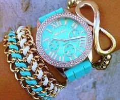 Rubber band watches are so cute esp bright colored ones they are perfect for dress down days Jewelry Accessories, Fashion Accessories, Fashion Jewelry, Women Jewelry, Design Bleu, Pierre Turquoise, Beautiful Watches, Mode Outfits, Diamond Are A Girls Best Friend