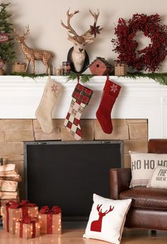 Chic holiday hearth decorations.