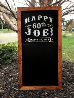 Personalized Framed Chalkboard Birthday Party Sign 18x36 by TimberAndType on Etsy