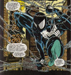 black costume Spider-Man by Todd McFarlane Comic Book Artists, Comic Book Characters, Comic Character, Comic Books Art, Comic Art, Spiderman Black Suit, Spiderman Art, Amazing Spiderman, Venom Spiderman
