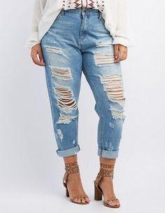 Plus Size Destroyed Boyfriend Jeans #plus #jeans
