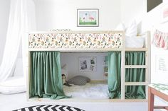 Awesome floral design of decals for KURA BED. Set includes: 1 long strip and 4 short strips. long strip - 79x9,25 short strip - 38x9,25 1. SAFE. All my decals are made from 100% interior safe, removable, quality adhesive vinyl! 2. HIGH QUALITY. Bright colors, very firmly stick to a hard surface. 3. Kura Cama Ikea, Ikea Bed Hack, Ikea Hacks, Ikea Hack Kids, Ikea Ikea, Bed For Girls Room, Ikea Girls Room, Ikea Kids Bedroom, Eye Makeup Tips