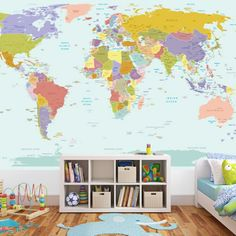 World-Map-Wall-Sticker Map Bedroom, Kids Bedroom, World Map Mural, World Map Wallpaper, World Map Poster, Wall Wallpaper, Travel Wallpaper, Custom Wallpaper, Room Stickers