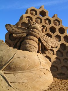 Bee, Rye, Australia sand sculpture of a bee by fergus mulvany. reminiscent of a macro photosand sculpture of a bee by fergus mulvany. reminiscent of a macro photo Snow Sculptures, Sculpture Art, Land Art, Michel Ciry, Graffiti, Ice Art, Fotografia Macro, Snow Art, Grain Of Sand