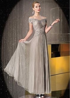 Buy discount Chic Tulle Off-the-shoulder Neckline Floor-length A-line Mother Of The Bride Dress at Magbridal.com