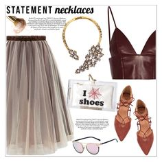 """Collared! Statement Necklaces"" by teoecar ❤ liked on Polyvore featuring T By Alexander Wang, Charlotte Olympia and statementnecklaces"