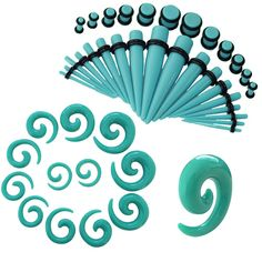 54 Pieces Gauges Kit Turquoise Spiral Tapers and Straight Taper with Plugs 14G-00G Stretching Kit