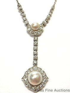 Very Rare Approx 4ctw Diamond Pearl Platinum French Hallmarks Antique Necklace #DropDangleYNecklace